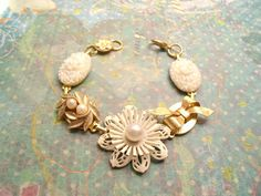 Pearls and whites in gold, Jewelry Box Bracelet by Pink Dogwoods