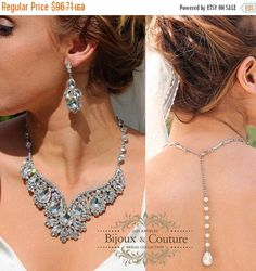 A personal favorite from my Etsy shop https://www.etsy.com/listing/153144273/wedding-jewelry-set-bridal-back-drop-bib