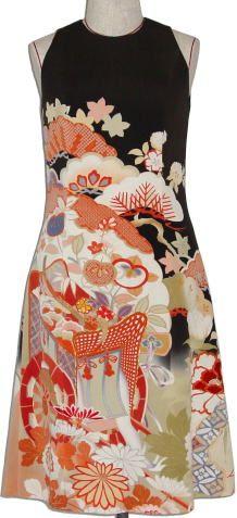 着物リメイクワンピースドレス(ショートー1)
