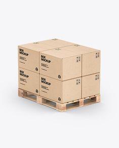Pallet W/ 8 Kraft Boxes Mockup Box Branding, Packaging Design, Cardboard Cartons, Kraft Boxes, Box Mockup, Duct Tape, Creative Words, Pallet, Transportation