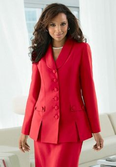 The Best Dressed Plus Size Classic And Current: Long-Sleeve Skirt Suit With Car Wash Hem