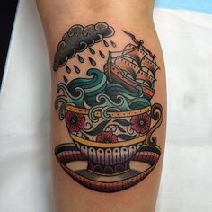 Storm in a teacup tattoo by Carlin Dacheff