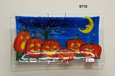 Peggy Karr/Fused Glass Plate/Halloween/Pumpkin Patch $58