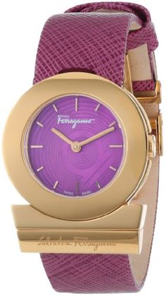 "Salvatore Ferragamo Women's FP5030013 ""Gancino"" Rose Gold Ion-Plated Watch with Saffiano Leather Strap * Learn more by visiting the image link."