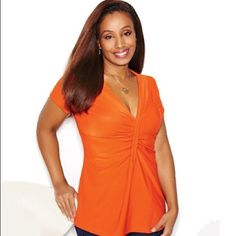 Brand new, orange rouched- front top, 3x (26-28) Brand new, rouched-front top from Avon.         size: 3x (26-28), Color: orange (available in orange only) 1 left! material is very nice, and stretchy! 95% polyester, 5% spandex. Pair this top with your favorite pair of jeans, wedges. And you're good to go. ☀🌴 Avon Tops