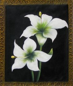 Graceful yet sophisticated, white petals fall against a velvety black background, giving stark contrast and strong focus to this floral canvas art. An elegant design bordering this oil painting gives