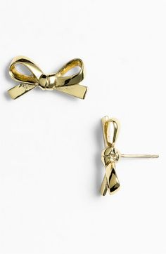 kate spade new york 'skinny mini' bow stud earrings in GOLD available at #Nordstrom