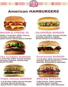 Hamburgers are not from America, but is the most popular meal of the continent, at least in North America. In United States born popular restaurants as Mcdonalds or Burger King, Americans are known for eating fast food. Burger Menu, My Burger, Gourmet Burgers, Burger Recipes, Beef Recipes, Cooking Recipes, Healthy Recipes, Good Food, Yummy Food