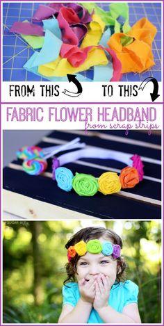 fabric flower headband from scraps diy tutorial