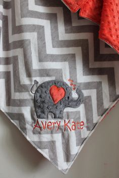Personalized blanket,Gray Chevron All Minky blanket, you pick the back minky color 29 x 35