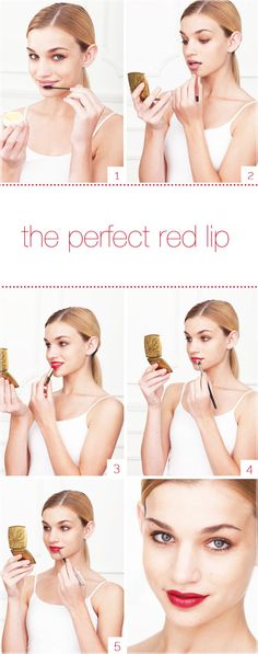 INSTRUCTIONS    1) Using a toothbrush or disposable mascara wand and lip balm,  remove any dead skin by gently scrubbing in circular motions.    2) Outline the perimeter with a nude liner to prevent feathering.    3) Apply red lipstick directly from the tube.    4) Using an eyeshadow blending brush and translucent loose powder, powder  your lips to really set the color.    5) Apply a second coat with a lip brush to smooth edges and perfect lines.