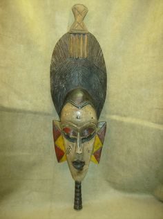 GURO Mask Ivory Coast Hand Carved Wood Comb Headdress African Art Collectibles