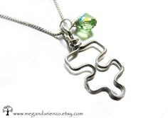 Autism Awareness Pendant, Puzzle Piece Birthstone Necklace