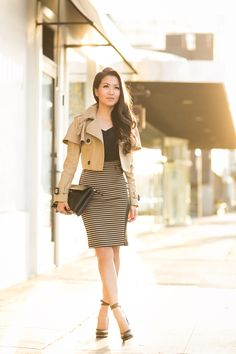 Cute outfit. Love the tan crop jacket w/striped skirt.