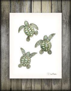 Watercolor 3 Baby Sea Turtles, Dan Morris Art Print, Choose print size, Option to mount print, Beach Baby Sea Turtles, Sea Turtle Art, Turtle Love, Sea Turtle Painting, Turtle Tattoo Designs, Sea Turtle Tattoos, Sea Turtle Drawings, Hai Tattoos, Turtle Sketch