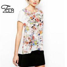 2016 verano mujer nueva moda blanco camisetas Floral impreso camisetas corto delantero volver larga del estilo de la camiseta EA6239(China (Mainland))