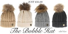 Which colour will you choose ? The Cable knit raccoon fur pom pom bobble hat - available for £35.00 in stock and online now http://www.hollandcooper.com/women/women-accessories/women-hats