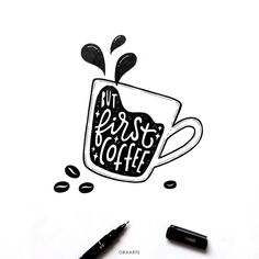 """""""Coffee is far more than a beverage. Coffee is an experience, an. Calligraphy Quotes Doodles, Schrift Design, Hand Drawn Type, Creative Lettering, Lettering Styles, Coffee Drawing, Lettering Tutorial, Doodle Drawings, Coffee Love"""