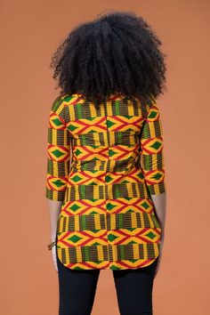 The Wendi Top is stunning in theColorful African Print. It's comfy to wear and will make sure you stand out in a crowd African American Fashion, African Fashion Ankara, African Fashion Designers, African Print Fashion, Africa Fashion, African Blouses, African Tops, African Shirts, African Wear Dresses