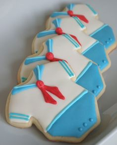 Sailor-Style Onesie Sugar Cookies - Perfect as party favors for an nautical/sailing themed baby shower! by lorraine Onesie Cookies, Baby Cookies, Baby Shower Cookies, Baby Shower Favors, Baby Shower Themes, Baby Boy Shower, Sugar Cookies, Shower Ideas, Baptism Cookies