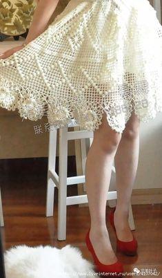 4 (410x700, 181Kb) Crochet Summer Dresses, Crochet Skirts, Knit Skirt, Crochet Clothes, Knit Dress, Crochet Lace Edging, Crochet Patterns, Lace Homecoming Dresses, Crochet Woman