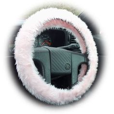 Furry Faux fur fluffy Baby pink fuzzy car Steering wheel cover Girly girl Cute car accessories