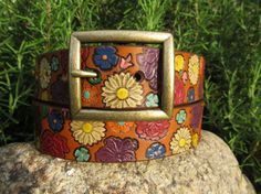 Hand Painted Tooled Leather Belt - inch Wide - Brown Belt with Colorful Flowers - Women or Girl Tooled Leather, Leather Belts, Leather Tooling, Tree Woman, Brass Buckle, Brown Belt, Rustic Charm, Colorful Flowers, Cuff Bracelets