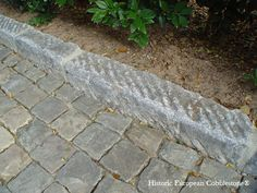 """Antique reclaimed SANDSTONE cobblestone pavers with beautiful natural colors in 5""""x5"""" and antique curbing.Granite Cobblestone or Sandstone Cobblestone;. Authentic reclaimed cobblestone, excellent for driveways or walkways, available in multiple sizes. Imported from Europe, by Monarch Stone International, nationwide. Cobblestone, pavers, paving stone, driveways, walkways, Belgian Block.."""