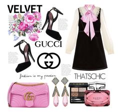 """Black Velvet"" by hastypudding ❤ liked on Polyvore featuring Gucci, Freida Rothman, contest, gucci, fashionset, fashiondesigner and AmiciMei"