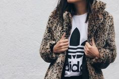faux leopard and addidas tee