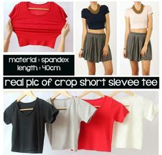 M-Gambar Asli Crop top Short Sleeve