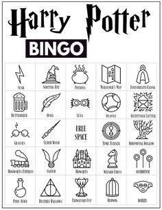 30 Harry Potter themed bingo cards for a Harry Potter themed party or classroom activity. Harry Potter Activities, Harry Potter Party Games, Harry Potter Classroom, Harry Potter Printables, Harry Potter Halloween, Harry Potter Birthday, Harry Potter Banner, Harry Potter Fiesta, Harry Potter Wand