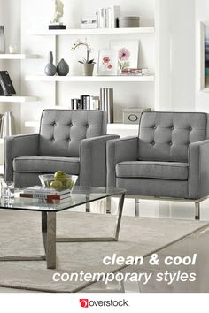 Modern & Contemporary Living Room Furniture : Find the perfect balance between comfort and style with Overstock Your Online Furniture Store! Contemporary Living Room Furniture, Contemporary Home Decor, Living Room Modern, Contemporary Design, Living Rooms, Modern Design, Sims 4 Modern House, Modern House Floor Plans, Small Modern Home