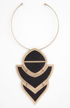 Carbon Copy 'Leather Plate' Statement Necklace available at #Nordstrom