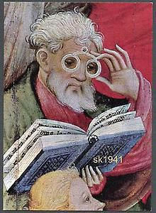 Apostle wearing rivet glasses, detail of Wildungen Altar by Conrad von Soest, 1403 Medieval Paintings, Renaissance Paintings, European Paintings, Medieval Life, Medieval Art, Medieval Manuscript, Illuminated Manuscript, Funky Glasses, Eye Glasses