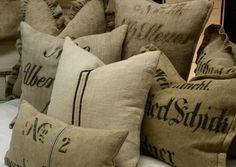 German grain sack pillows