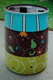Rain Barrel Painted for auction kids can paint favorite thing School Auction Projects, Class Art Projects, Classroom Art Projects, Painted Trash Cans, Barris, Water Barrel, Rain Collection, Auction Baskets, School Fundraisers