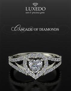 Heart shape diamond ring Customized jewels at Luxedogems.com