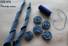 Best 12 This listing is for 6 upcycled denim flowers. Choose from 2 and inches, 3 inches, or 4 inches. The – SkillOfKing.Com - Her Crochet Denim Flowers, Cloth Flowers, Burlap Flowers, Fabric Flowers, Artisanats Denim, Denim And Lace, Fabric Flower Brooch, Fabric Flower Tutorial, Fabric Beads