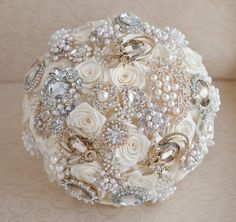 Brooch bouquet. Deposit on a Ivory Champagne by MagnoliaHandmade, $60.00