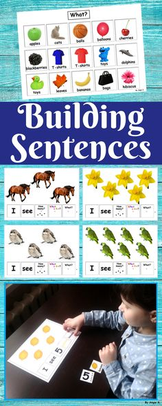 Building Sentences Activity for students with autism, pre-k, K and preschool. Forming sentences is very important for young learners or those with autism. This activity uses real-life pictures for easy recognition of common objects and sight words as sentence starters. It is perfect for early readers. This is also an activity to practice identifying the attributes of what, the number, and the color of a group of items. #autism #esl #slp #sped #autismresources #AutismAcceptanceWithTpT