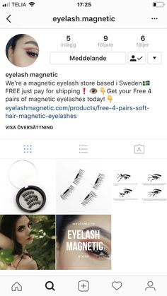Free magnetic eyelashes / Pay for shipping. Store based in Sweden. Go in and follow