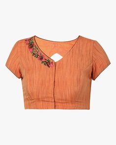 Buy Orange The Blouse Factory Handwoven Cotton Blouse with Embroidery   AJIO