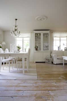 I love these floors: White romantic cottage chic room - home decor decorating - clean neutral interior design
