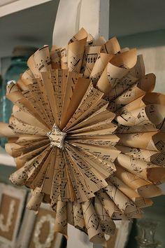 Vintage sheet music wreath....stunning!