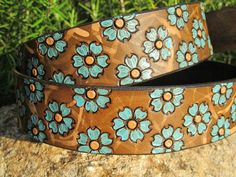 Hand Painted Leather Two Tone Tooled Wide Belt by SarahsArtistry