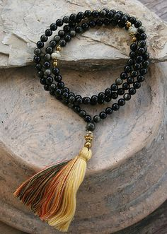 Beautiful mala necklace made of 108, 8 mm - 0.315 inch, very beautiful rainbow obsidian gemstones and decorated with jade and hematite - look4treasures on Etsy