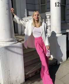 Basic Outfits, Pink Outfits, Colourful Outfits, Colorful Fashion, Trendy Outfits, Cool Outfits, Fashion Outfits, Womens Fashion, Bold Fashion