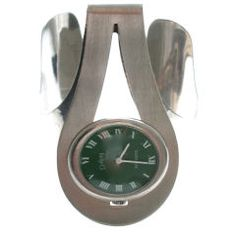 Sterling and Enamel Watch by Gubelin, circa 1970 Swiss A modernist watch by Gubelin. The sterling silver lightly hammered openwork cuff bracelet with an oval green face and roman numerals. Jewelry Bracelets, Jewelry Watches, Silver Watches, Art Deco Watch, Enamel Jewelry, Silver Diamonds, Vintage Watches, Luxury Watches, Bracelet Watch