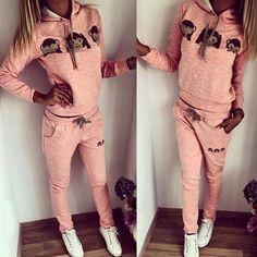 Cute Hooded Emoji Printed Pullover Hoodie and Elastic Waist Pants Twinset For Women